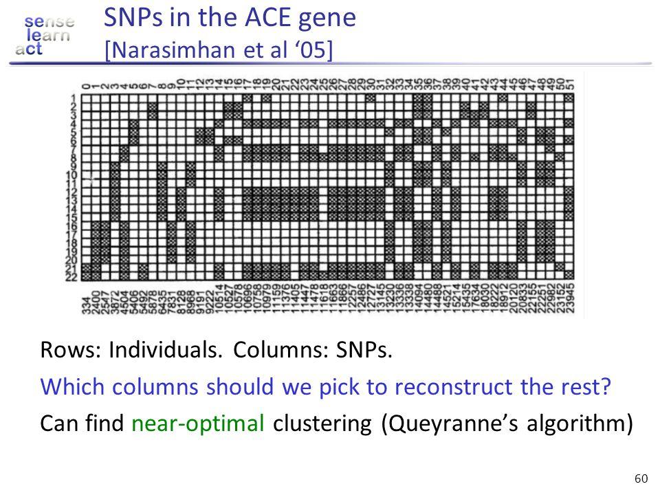 SNPs in the ACE gene [Narasimhan et al '05]
